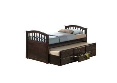 San Marino Walnut Full Captain Bed & Trundle w/3 Drw