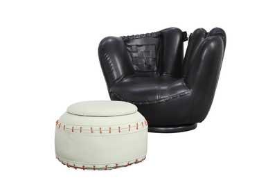 All Star Baseball Black/White Ottoman Chair and Ottoman (Set of 2)