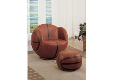 All Star Brown/Black 2Pc Pk Chair & Ottoman,Acme