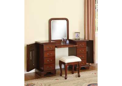 Image for Louis Philippe Brown Vanity Desk & Stool