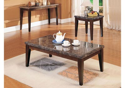 Image for Danville Black Marble/Walnut End Table