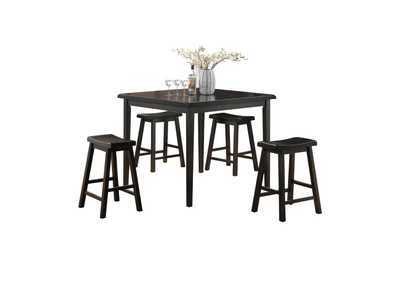 Image for Gaucho Black 5Pc Pk Counter Height Set