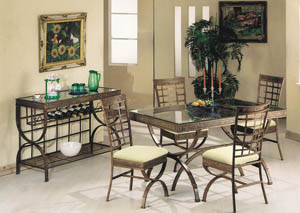 Image for Egyptian Bronze Patina & Clear Glass Dining Table