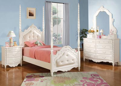 Image for Pearl Pearl White w/Gold Brush Full Bed