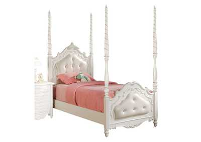 Image for Pearl Pearl White w/Gold Brush Twin Bed