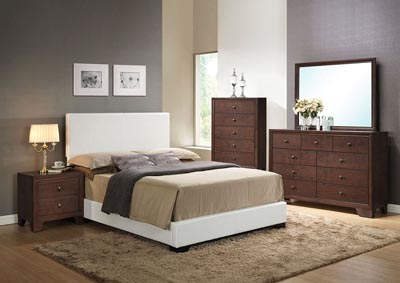 Image for Ireland III White Full Platform Bed w/Dresser and Mirror