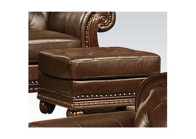 Image for Anondale Espresso Top Grain Leather Match Ottoman