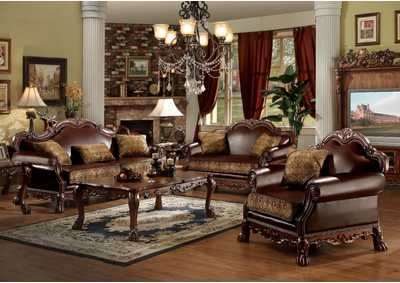 Image for Dresden Brown PU & Chenille, Cherry Oak Sofa