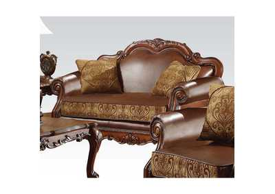 Image for Dresden Brown PU & Chenille, Cherry Oak Loveseat