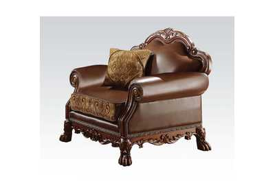 Image for Dresden Brown PU & Chenille, Cherry Oak Chair