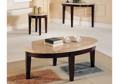 Image for Britney White Marble/Walnut End Table
