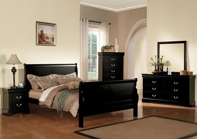 Image for Louis Philippe III Black Full Sleigh Bed w/Dresser and Mirror