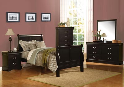 Image for Louis Philippe III Black Twin Bed