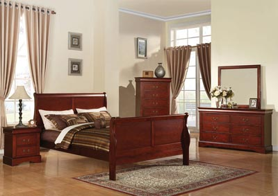 Image for Louis Philippe III Cherry Twin Sleigh Bed w/Dresser and Mirror