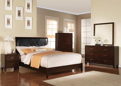 Image for Tyler Black PU & Cappuccino Queen Bed