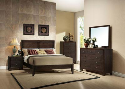 Madison Espresso California King Platform Bed w/Dresser and Mirror