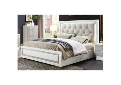 Image for Allendale Beige PU & Ivory High Gloss Eastern King Bed