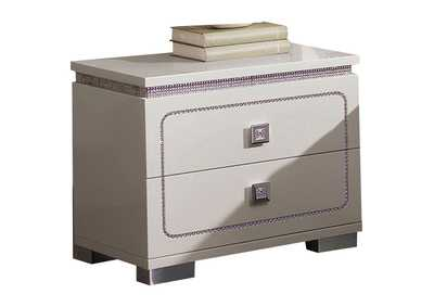 Valentina White High Gloss Nightstand,Acme