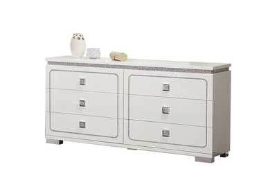 Valentina White High Gloss Dresser,Acme