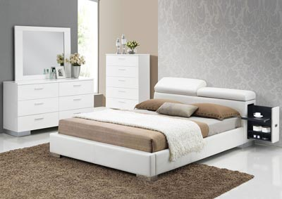 Image for Manjot White Eastern King Platform Bed
