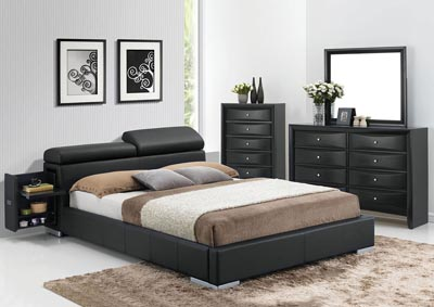 Image for Manjot Black Eastern King Upholstered Bed