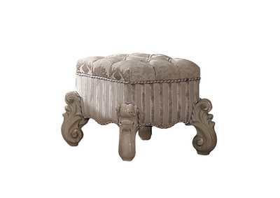 Image for Versailles Ivory Fabric & Bone White Vanity Stool