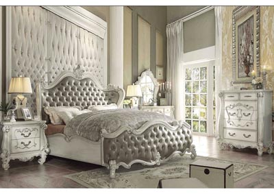 Versailles Vintage Gray PU & Bone White Queen Bed