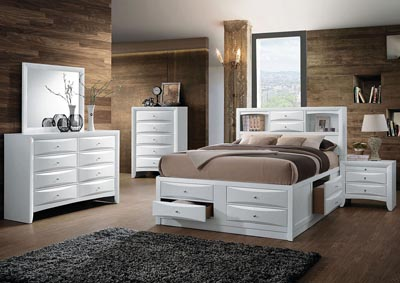 Ireland White Full Storage Bed w/Dresser and Mirror,Acme