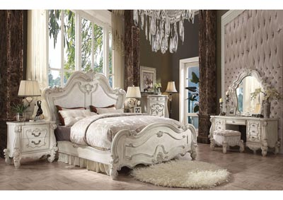 Versailles Bone White Eastern King Bed w/Dresser and Mirror