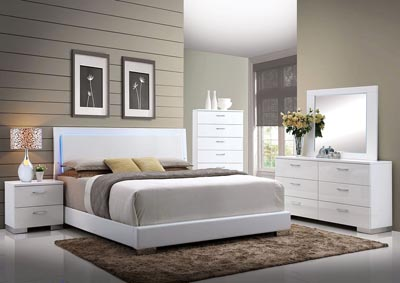 Lorimar White Eastern King LED Platform Bed w/Dresser and Mirror