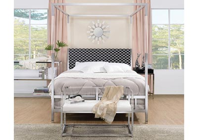 Raegan Fabric & Chrome Queen Bed