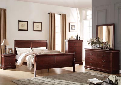 Louis Philippe Cherry Queen Sleigh Bed w/Dresser and Mirror