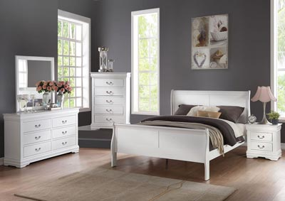 Image for Louis Philippe White Eastern King Sleigh Bed