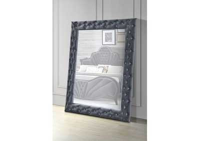 Image for Dante Gray Velvet Accent Floor Mirror