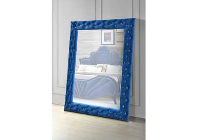 Image for Dante Blue Velvet Accent Floor Mirror