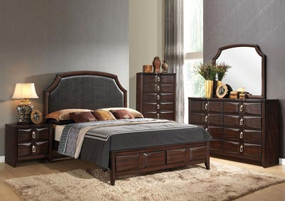 Lancaster Espresso Upholstered Queen Bed w/Dresser and Mirror,Acme