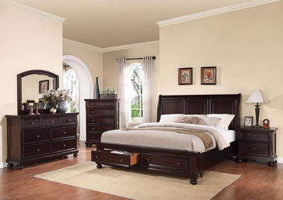 Grayson Walnut Queen Storage Bed w/Dresser and Mirror,Acme