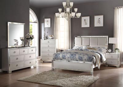Voeville II Platinum Upholstered Queen Platform Bed w/Dresser and Mirror,Acme