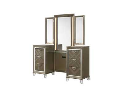 Image for Skylar LED & Dark Champagne Vanity Desk