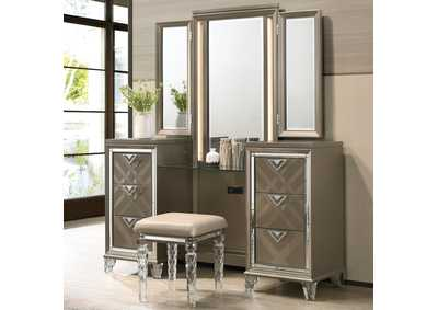 Image for Skylar Champagne Vanity Desk Mirror and Stool