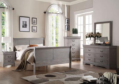 Louis Philippe III Antique Gray Eastern King Sleigh Bed w/Dresser and Mirror