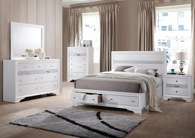 Naima White Eastern King Storage Bed w/Dresser and Mirror,Acme