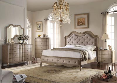 Chelmsford Antique Taupe/Beige Queen Bed w/Dresser and Mirror