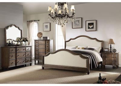 Baudouin Beige/Weathered Oak Queen Bed