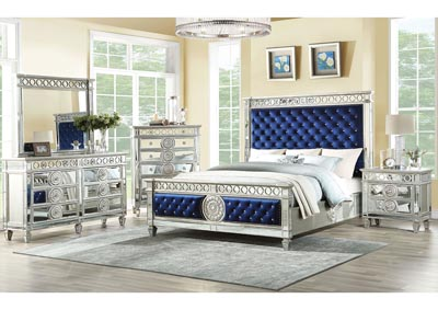 Varian Silver/Royal Blue Queen Panel Bed w/Dresser and Mirror,Acme