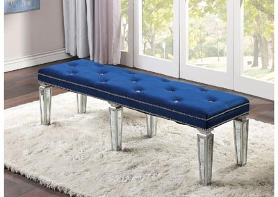 Image for Varian Blue Velvet & Mirrored Bench