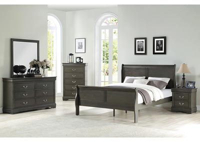 Louis Philippe Grey Eastern King Sleigh Bed w/Dresser and Mirror