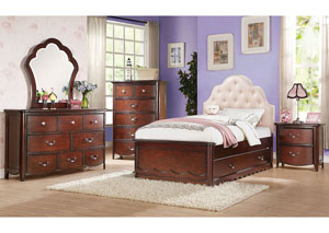 Image for Cecilie Pink/Cherry Full Bed w/Trundle