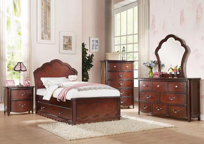 Cecilie Cherry Twin Panel Bed Set w/Trundle,Acme