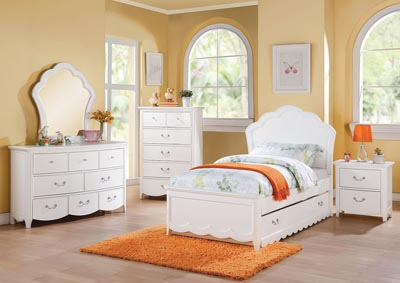 Cecilie White Twin Wood Panel Bed w/Trundle